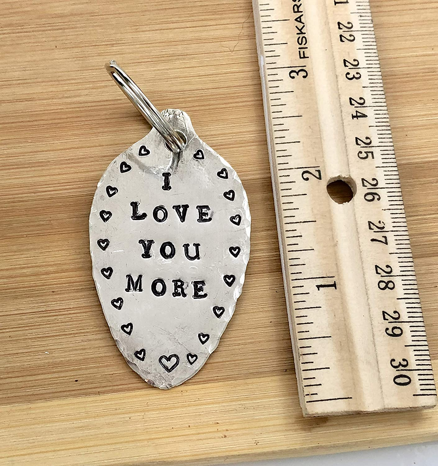 Silver Plate Spoon I Love You More Keychain with hearts