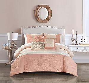 Chic Home Imani 6 Piece Comforter Set Jacquard Geometric Diamond Pattern Color Block Design Bedding - Decorative Pillows Shams Included, Queen, Blush