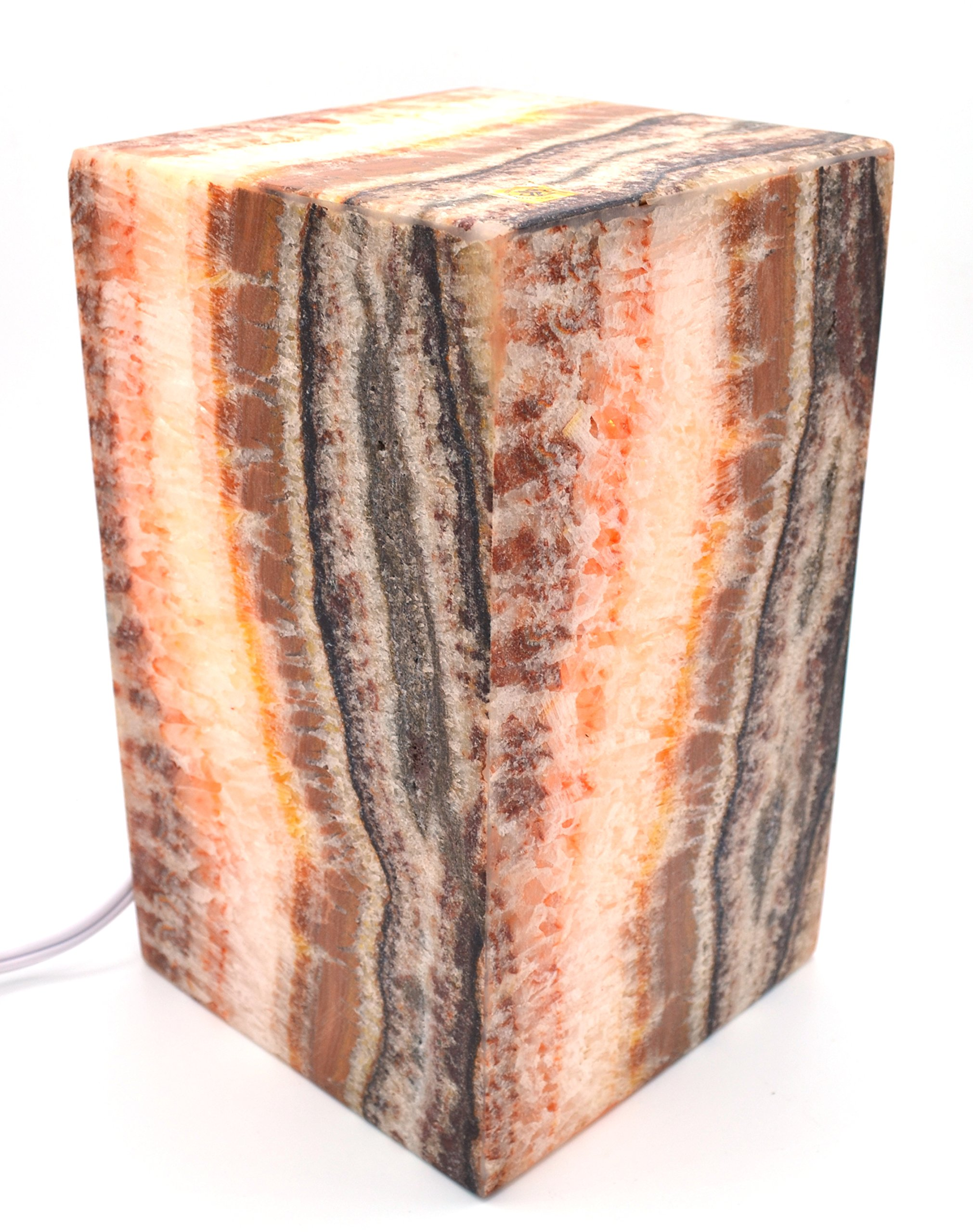 Ochre Red Stone Prism Lamp, 10'' Tall, Carved from Real North American Onyx - The Artisan Mined Series by hBAR