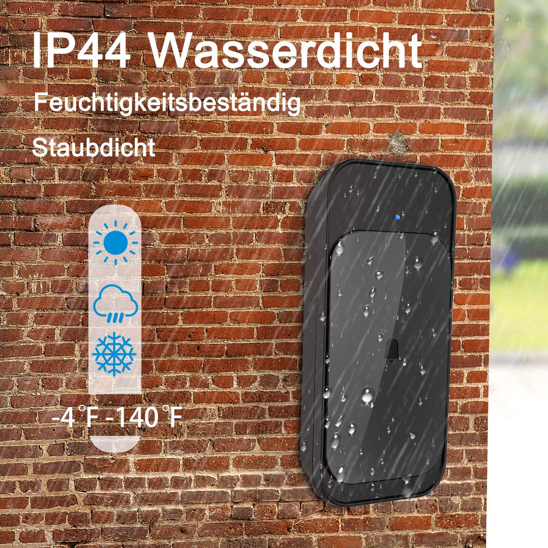 T/ürklingel,Au/ßenbereich Wasserdicht Funkklingel Set,Kabellose T/ürklingel Kit,1 Sender und 2 Plug-in Empf/änger,58 Klingelt/öne und 4 Lautst/ärkestufen,900ft//280m Reichweite,LED Anzeige
