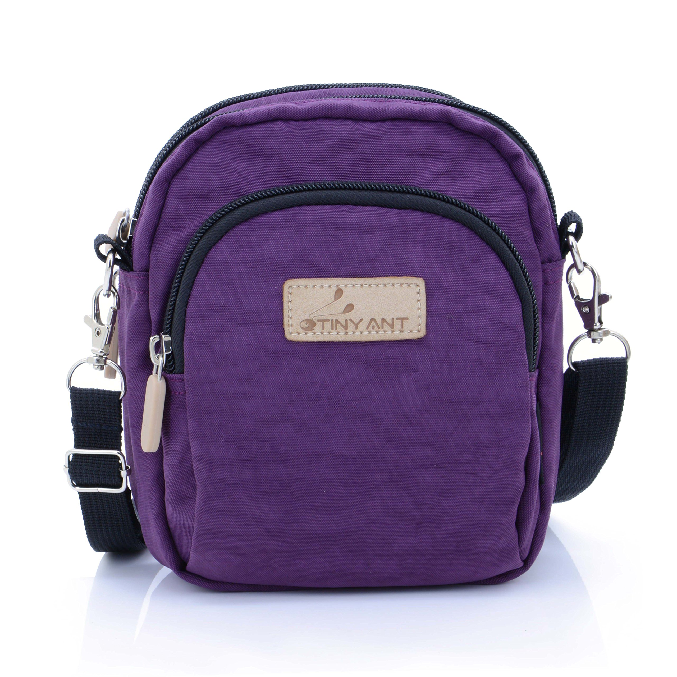 Women's 3 Layers Wristlet Purse Zipped Cell Phone Clutch Crossbody Handbags(Waist/Shoulder Bag-Dark Purple)