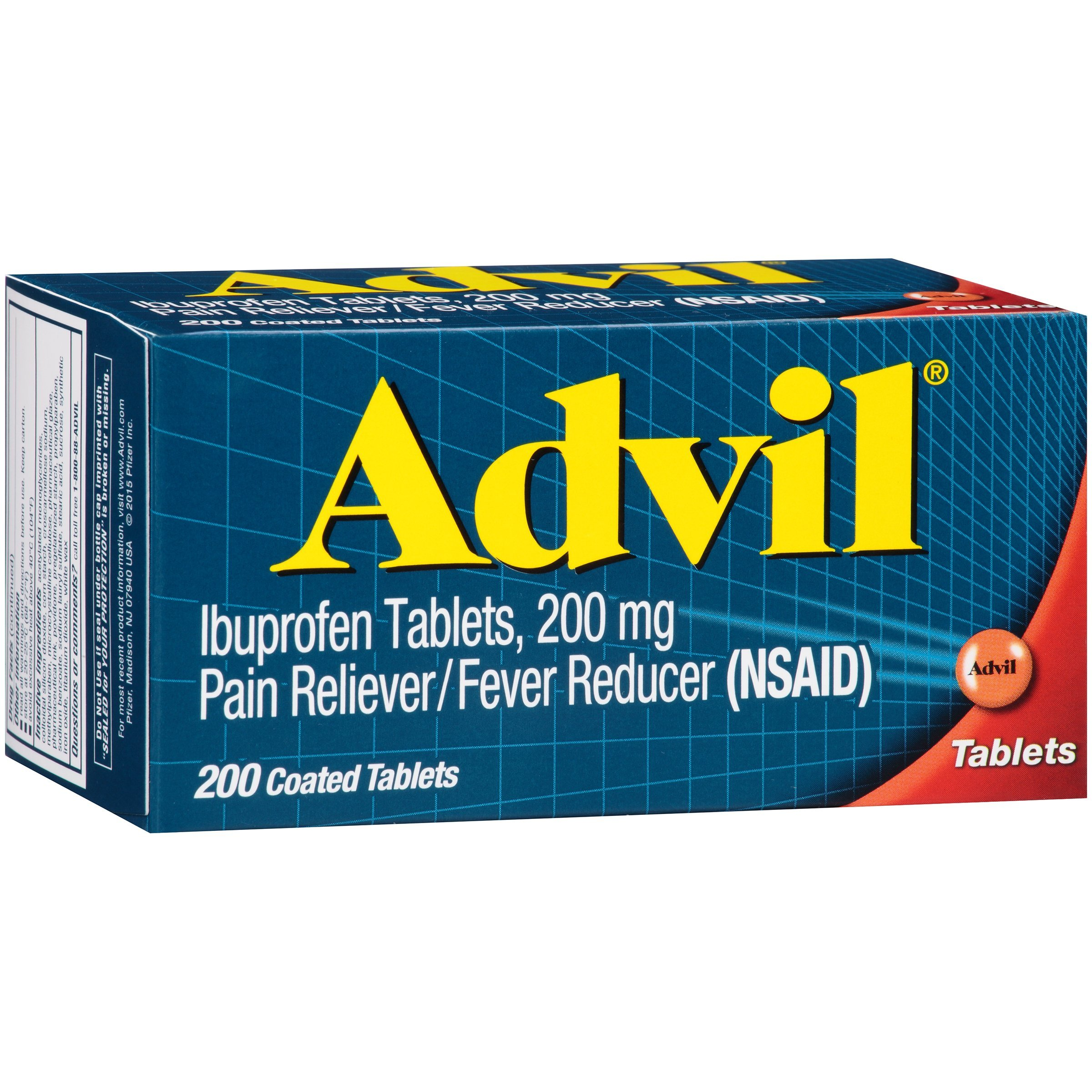 Advil (200 Count) Pain Reliever / Fever Reducer Coated Tablet, 200mg Ibuprofen, Temporary Pain Relief