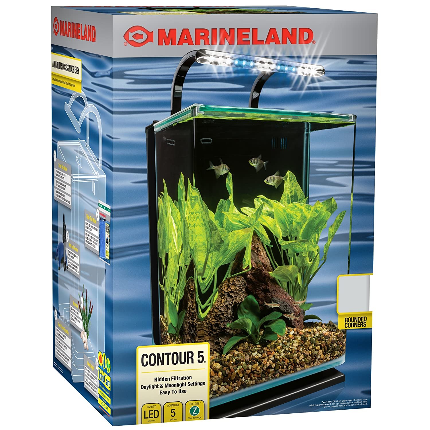 Fish aquarium just dial - Marineland Contour Glass Aquarium Kit With Rail Light 5 Gallon By Marineland Amazon Co Uk Pet Supplies