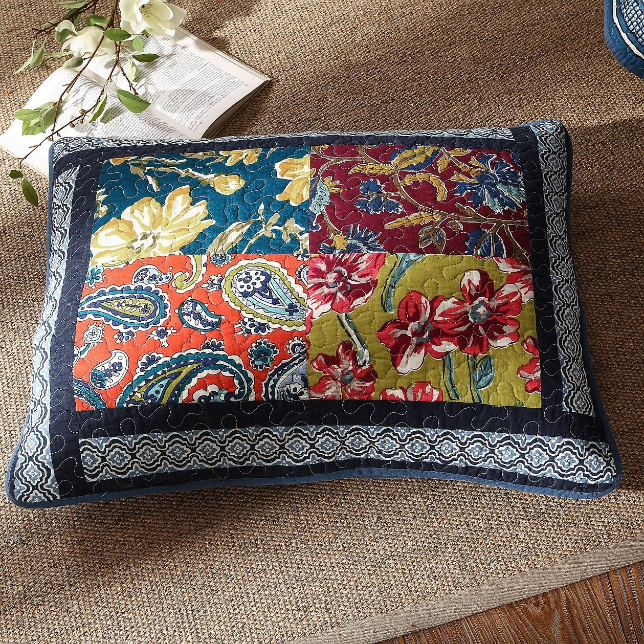 DaDa Bedding Bohemian Midnight Ocean Blue Sea Reversible Real Patchwork Quilted Bedspread Set - Dark Navy Floral Multi-Color Print - Queen - 3-Pieces by DaDa Bedding Collection (Image #7)