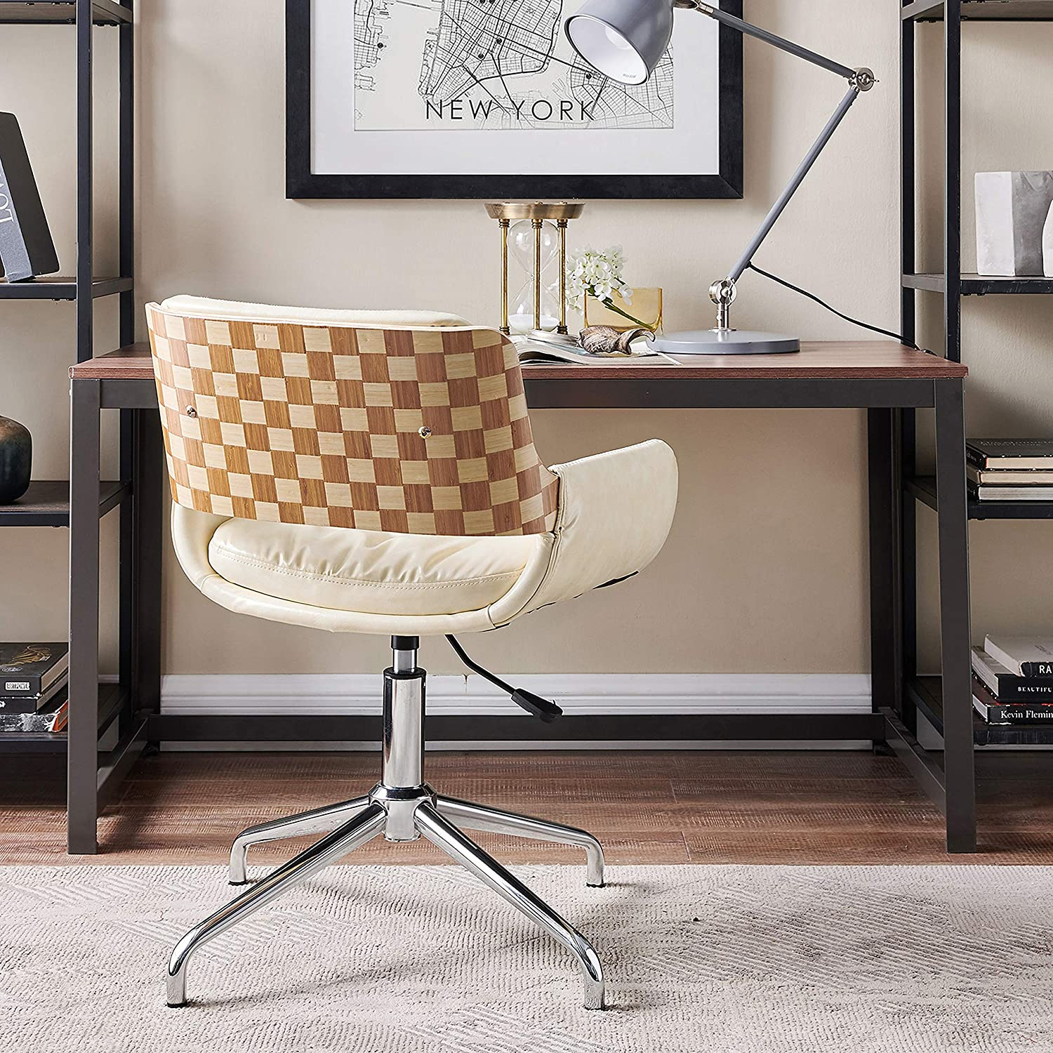 Volans Home Office Chair Mid Century Modern Bentwood Swivel Accent Office Desk Chair with Leather Upholstery, Adjustable Height Task Chair with Armrest, Creamy-White