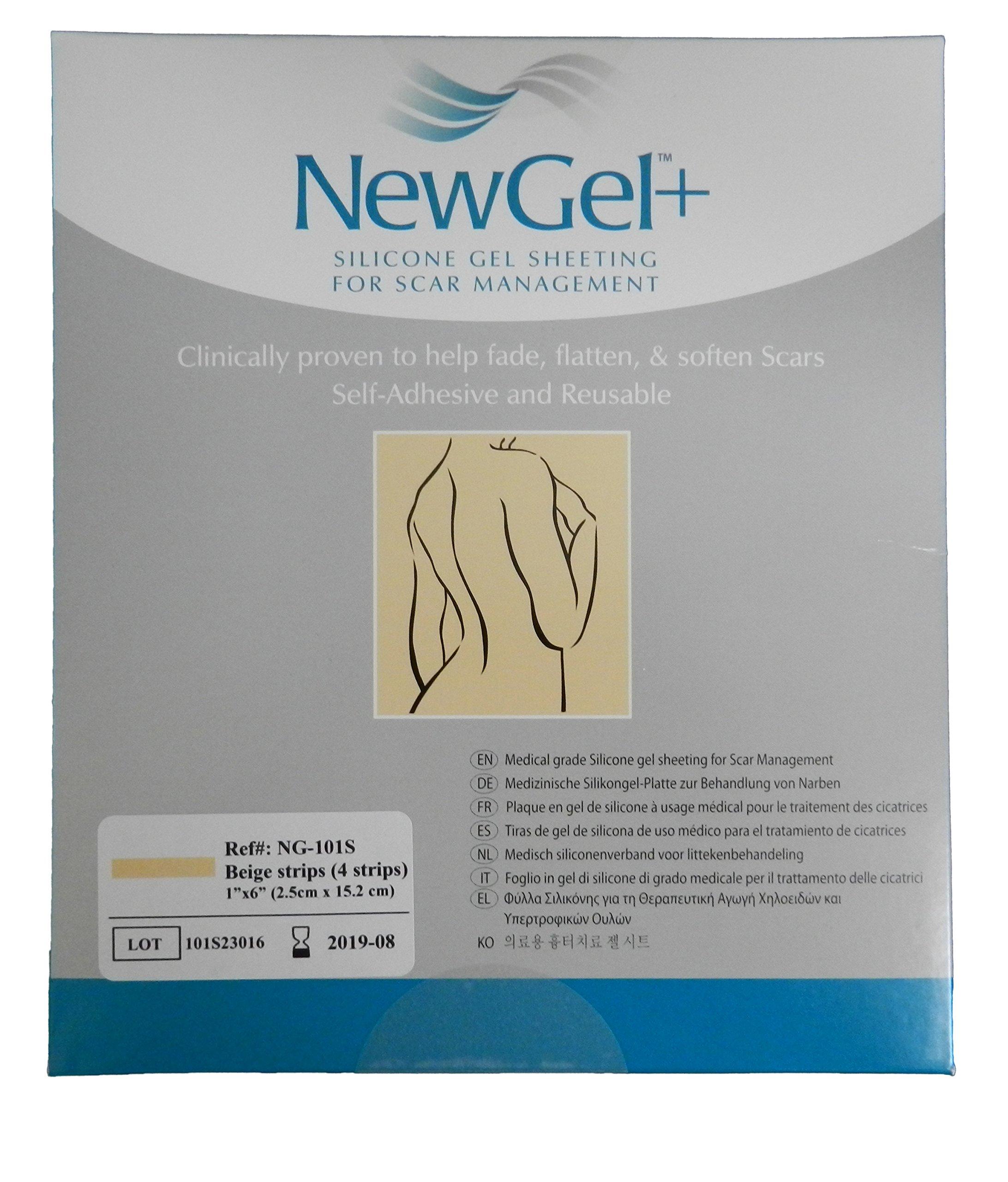 NewGel+ Silicone Gel Strips for Scar Management - 1inch x 6inch Strips Beige (4 per box)