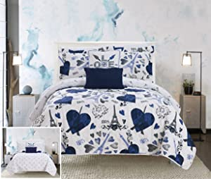 Chic Home Grand Palais 5 Piece Reversible Quilt Set Paris is Love Inspired Printed Design Coverlet Bedding-Decorative Pillows Shams Included Size, Full, Navy
