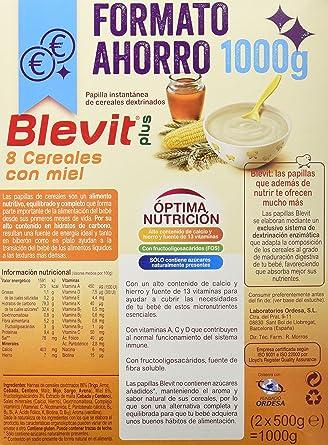 Blevit Plus 8 Cereales con Miel - Paquete de 2 x 500 gr - Total: 1000 gr