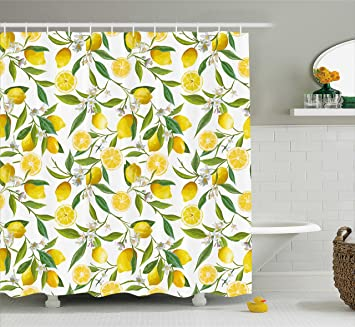 Amazon Ambesonne Nature Shower Curtain Exotic Lemon Tree Branches Yummy Delicious Kitchen Gardening Design Fabric Bathroom Decor Set With Hooks