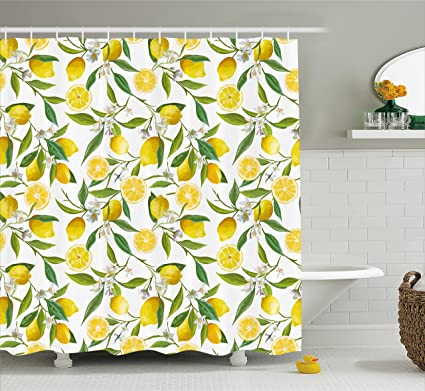 Ambesonne Nature Shower Curtain Exotic Lemon Tree Branches Yummy Delicious Kitchen Gardening Design Fabric