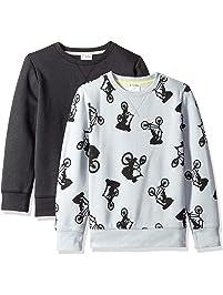 Spotted Zebra Boys' Toddler & Kids 2-Pack Crew Sweatshirts