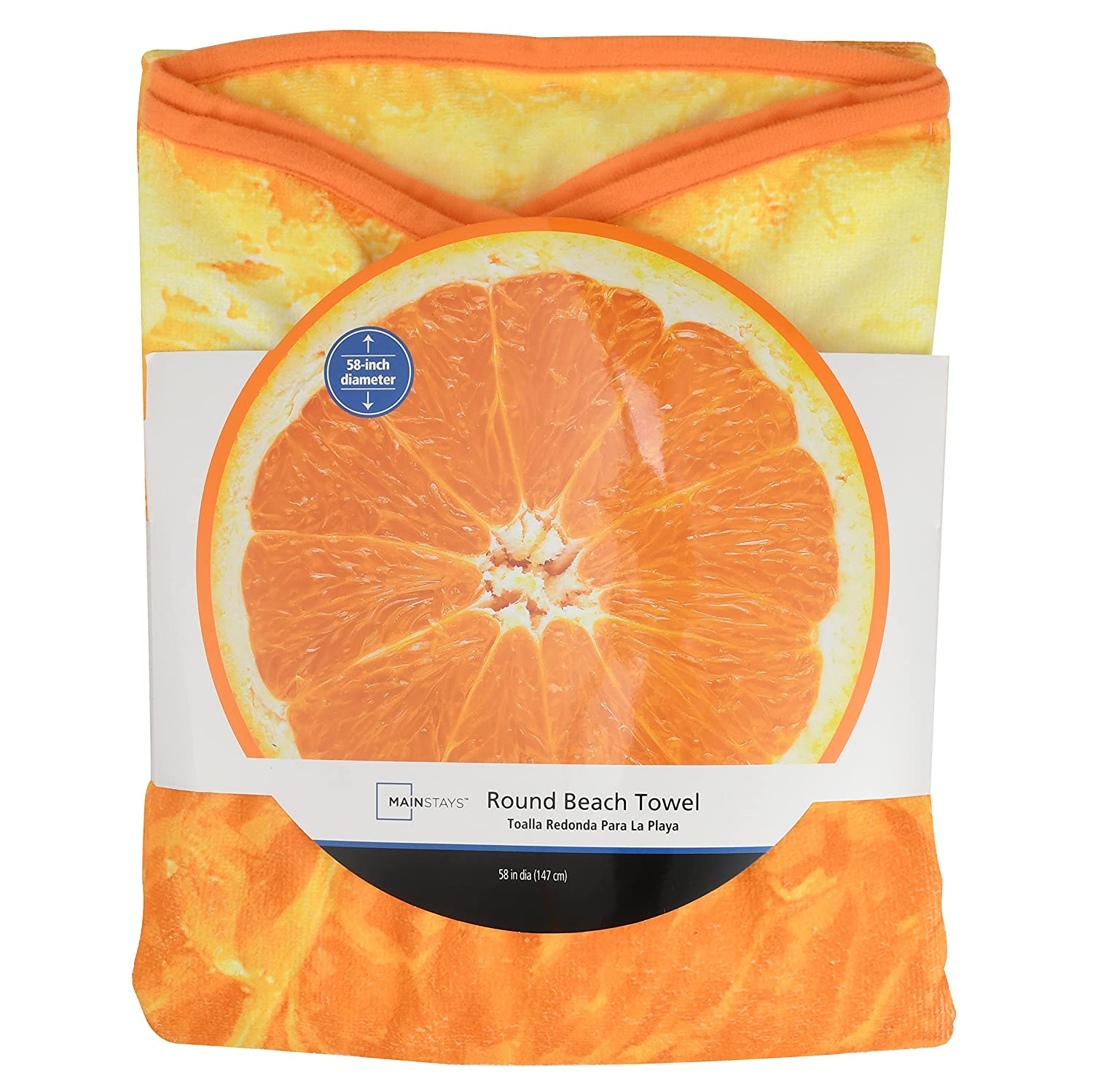 Amazon.com: Wal-Mart Mainstays Round Beach Towel Orange Fruit 58