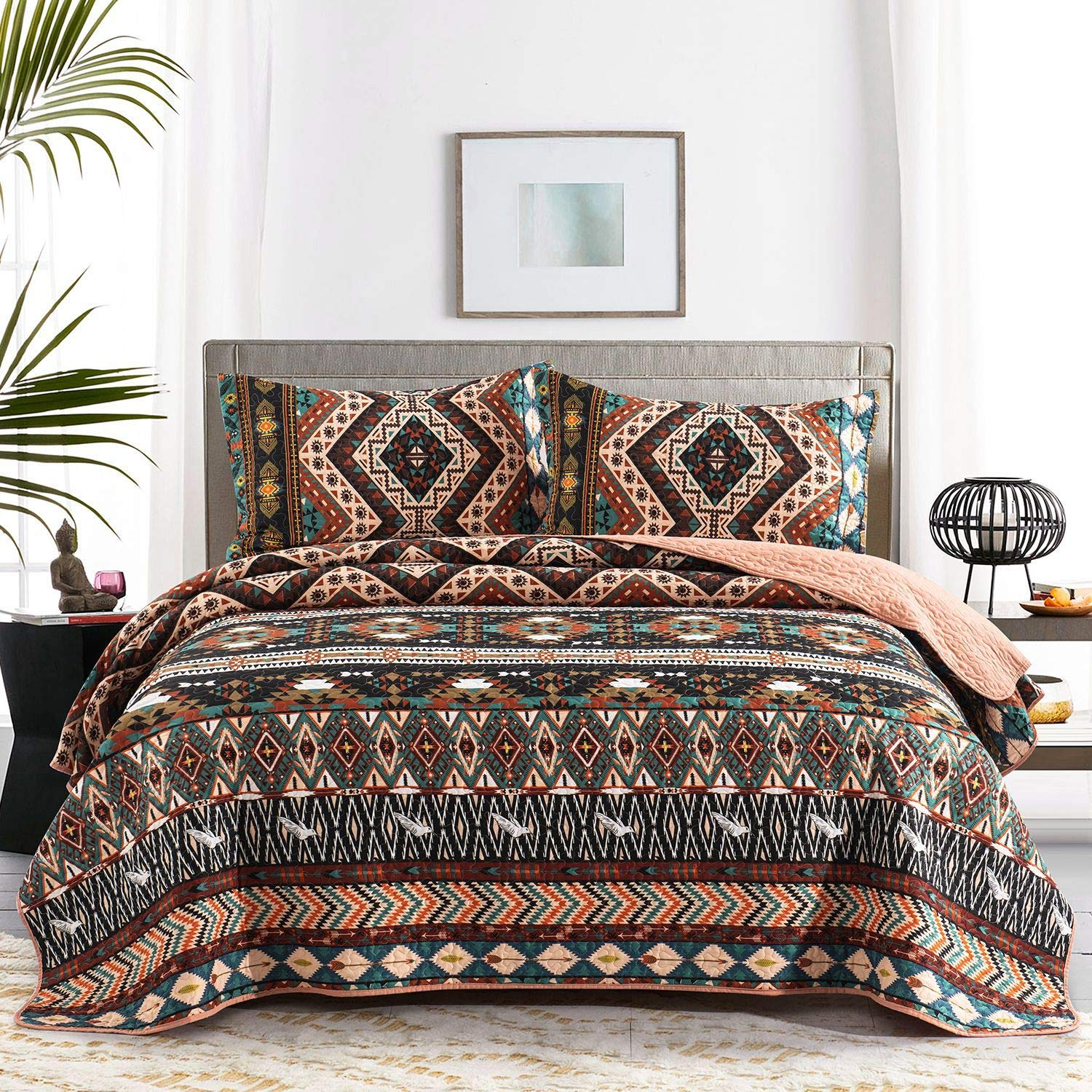 "HONOVA Boho King Quilt Set, Southwestern Design Quilted Coverlet with Birds Pattern Print, Soft Microfiber Bedspreads 90""x106"" with 2 Pillow Shams - Lightweight Design for All-Season"