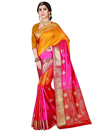 7ff83aa11b Viva N Diva Women's Pink Color Silk Woven Saree With Unstitched Blouse Piece,Free  Size
