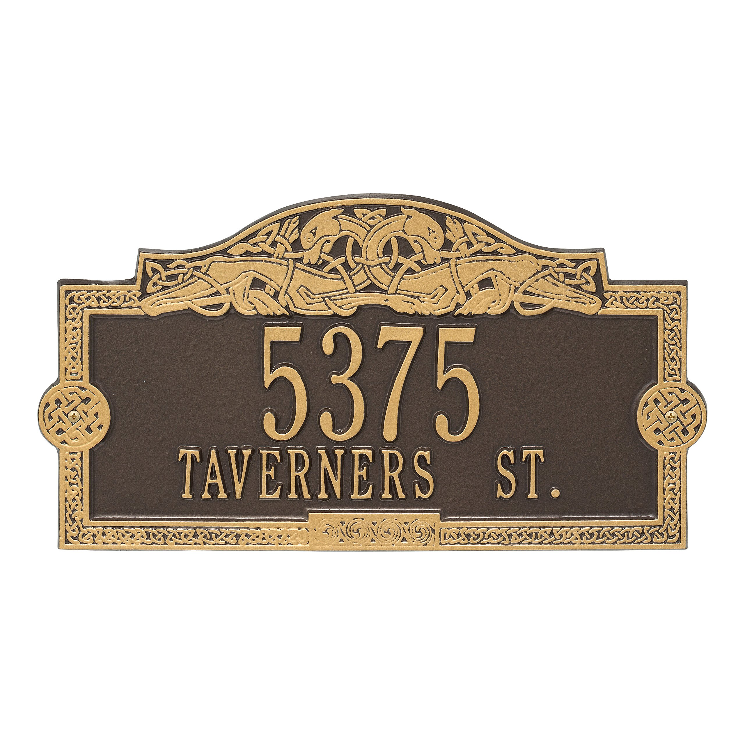 Whitehall Personalized Indoor/Outdoor Cast Irish Celtic Dragon Address Plaque Sign with House Number and Street Name (Bronze Gold)