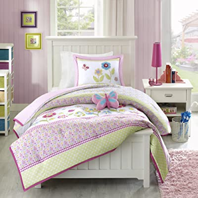 Mizone Kids Spring Bloom 4 Piece Comforter Set, Multicolor, Full/Queen: Home & Kitchen