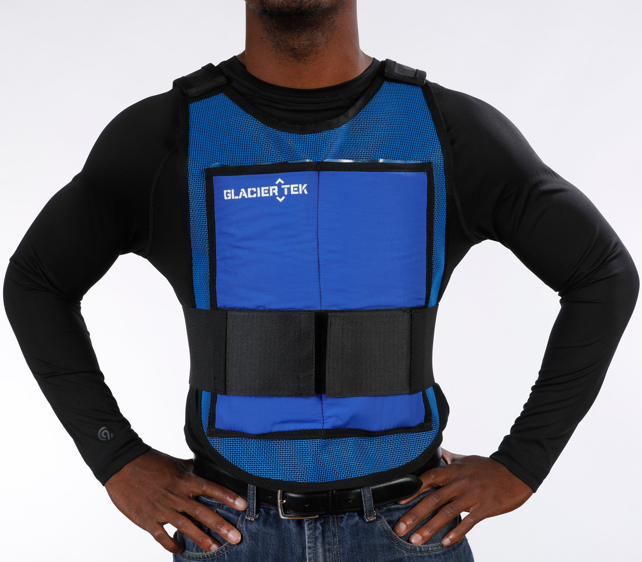 Glacier Tek Classic Cool Vest with Set of 8 Nontoxic Cooling Packs Blue