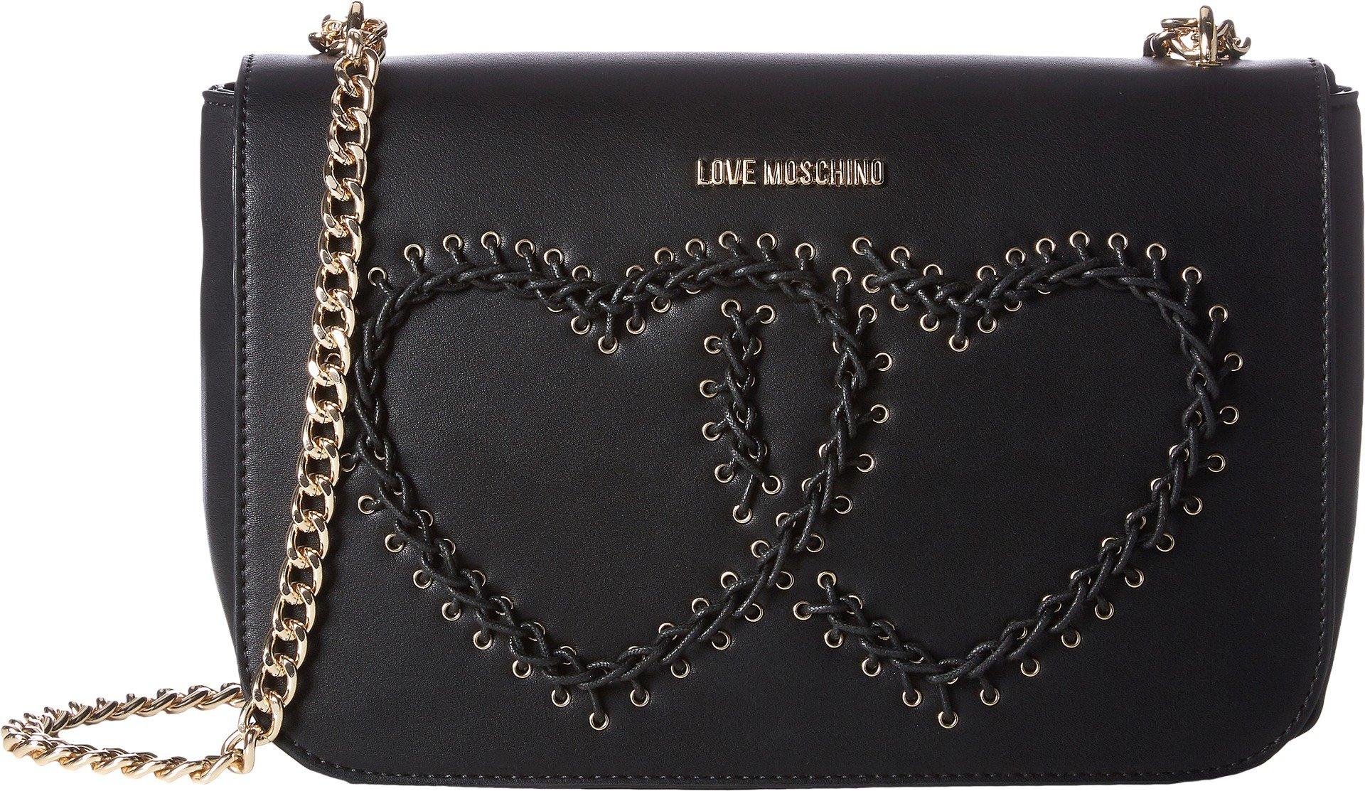 LOVE Moschino Women's Stitched Heart Shoulder Bag Black Handbag