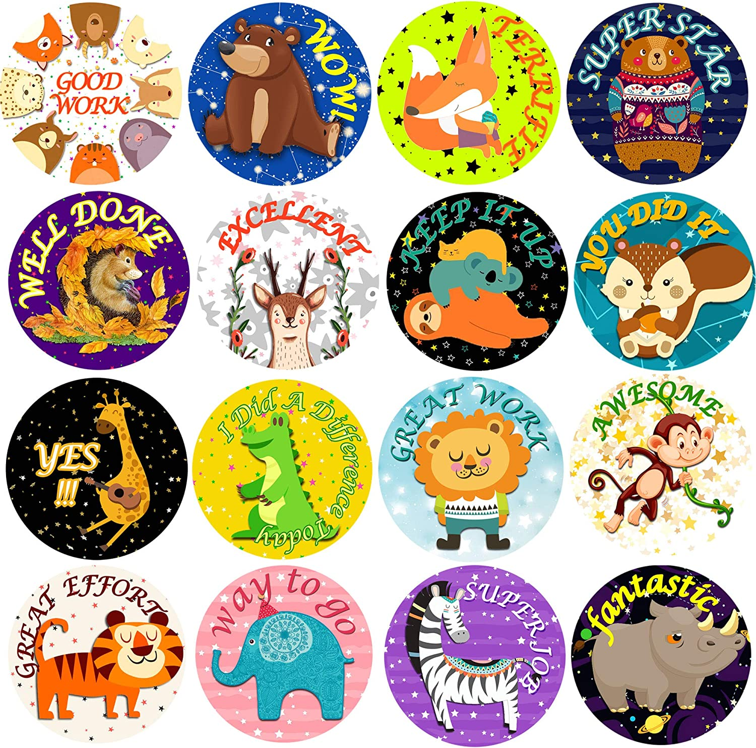 800Pcs Animal Reward Stickers for Kids - 2 Rolls 1-3/5 Inch Self Adhesive Positive Words Incentive Sticker Label Animal Shape Wall Decals for Teacher Classroom Supplies and School Favor, 16 Styles