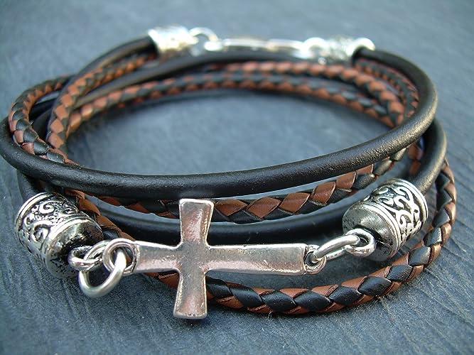 Amazon Com Handmade Leather Bracelet Black And Brown Cross