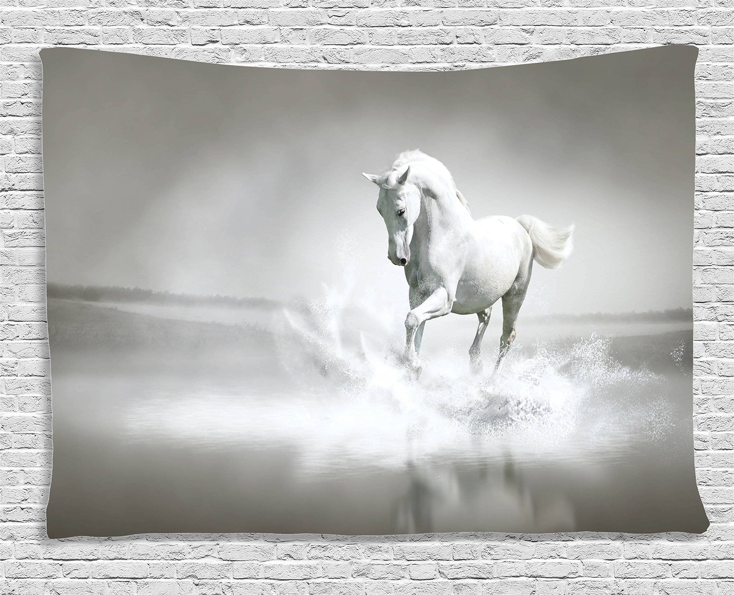Ambesonne Animal Decor Tapestry, Horse Running Through Water Dramatic Symbol for The Motivation of Life Wild Artwork, Wall Hanging for Bedroom Living Room Dorm, 60 W X 40 L inches, Sage Green