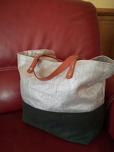 0b9724c9a3 Sac à main, cabas bi-matière lin et coton huilé cuir/Fabriqué en ...
