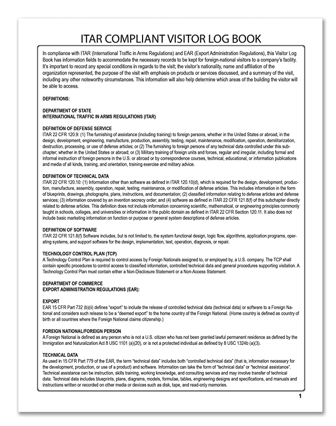 Amazon.com : BookFactory ITAR Visitor Log Book / Visitor Register ...