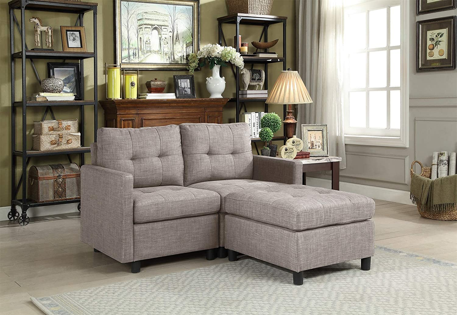 Amazon.com: Modular 3-Piece Sectional Sofa Loveseat with Chaise ...