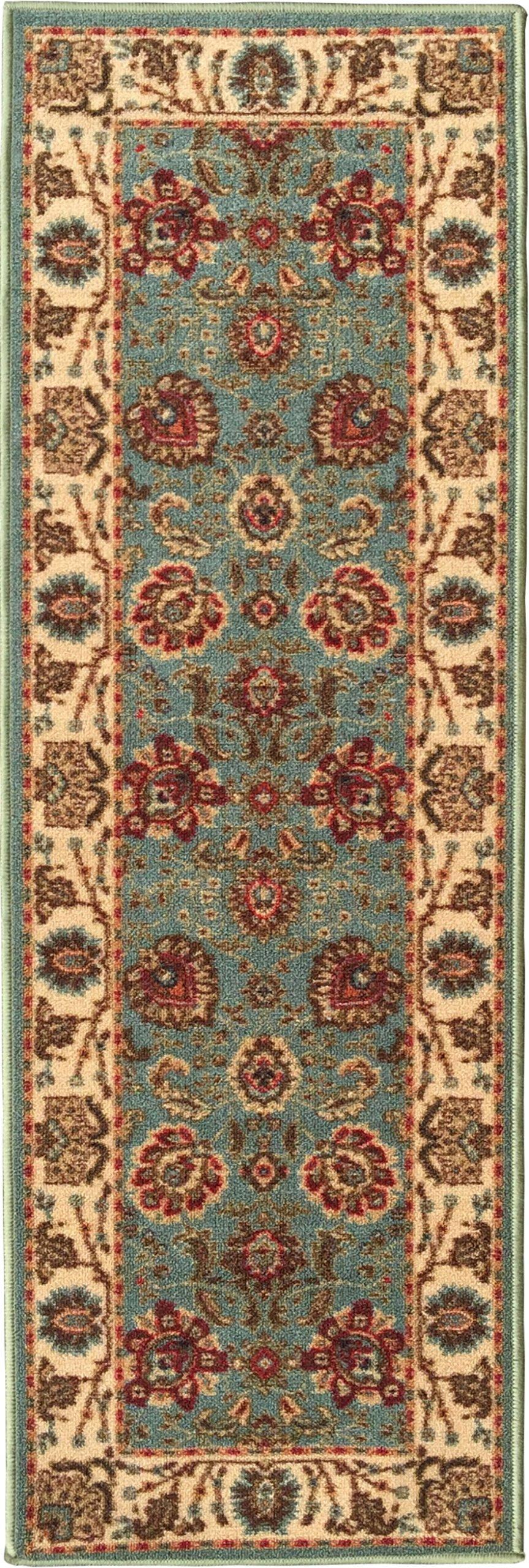 Ottomanson Ottohome Collection Persian Style Oriental Design Non-Skid Rubber Backing Area Rug Hallway Runner, 2'7'' X 9'10'', Seafoam