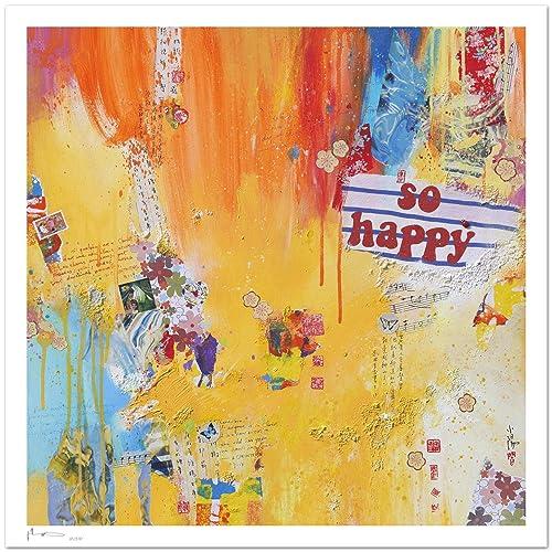 Reproducción de arte - So happy - sobre papel de acuarela 300g/m² con textura, de alta calidad: Amazon.es: Handmade