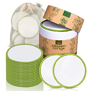 Greenzla Reusable Makeup Remover Pads (18 Pack) With Washable Laundry Bag And Round Box for Storage | Zero Waste Reusable Cotton Pads| 100% Organic Cotton Rounds For All Skin Types