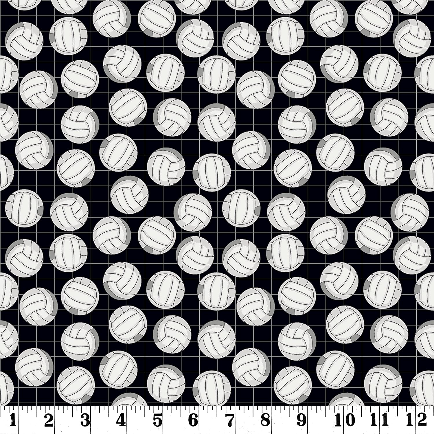 18 x 21 Black and White Volleyball Fat Quarter