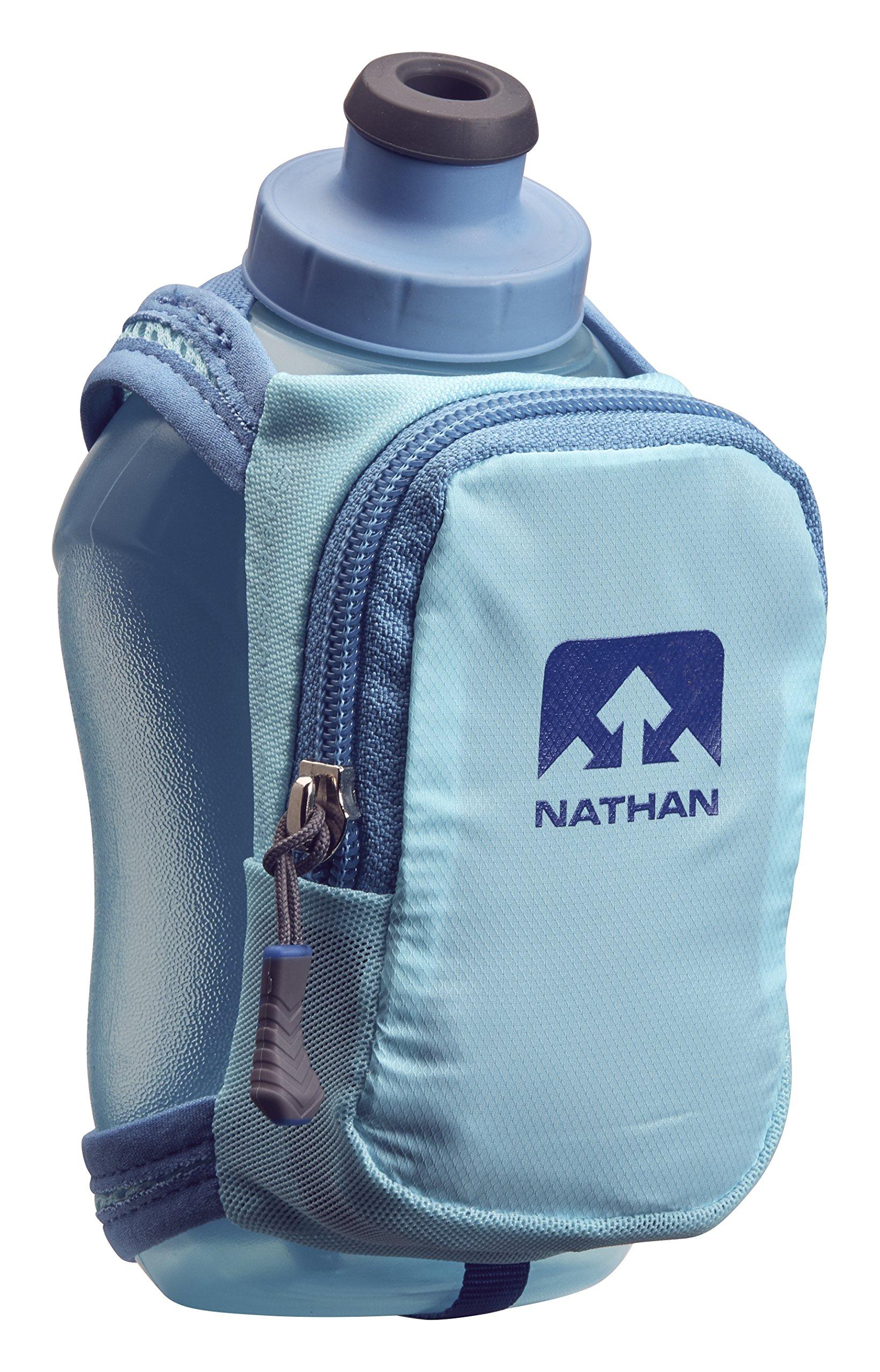 Nathan NS4859 Speedshot Plus Quick Grip 12 oz Running Water Bottle Flask with Zip Pocket, Blue Radiance