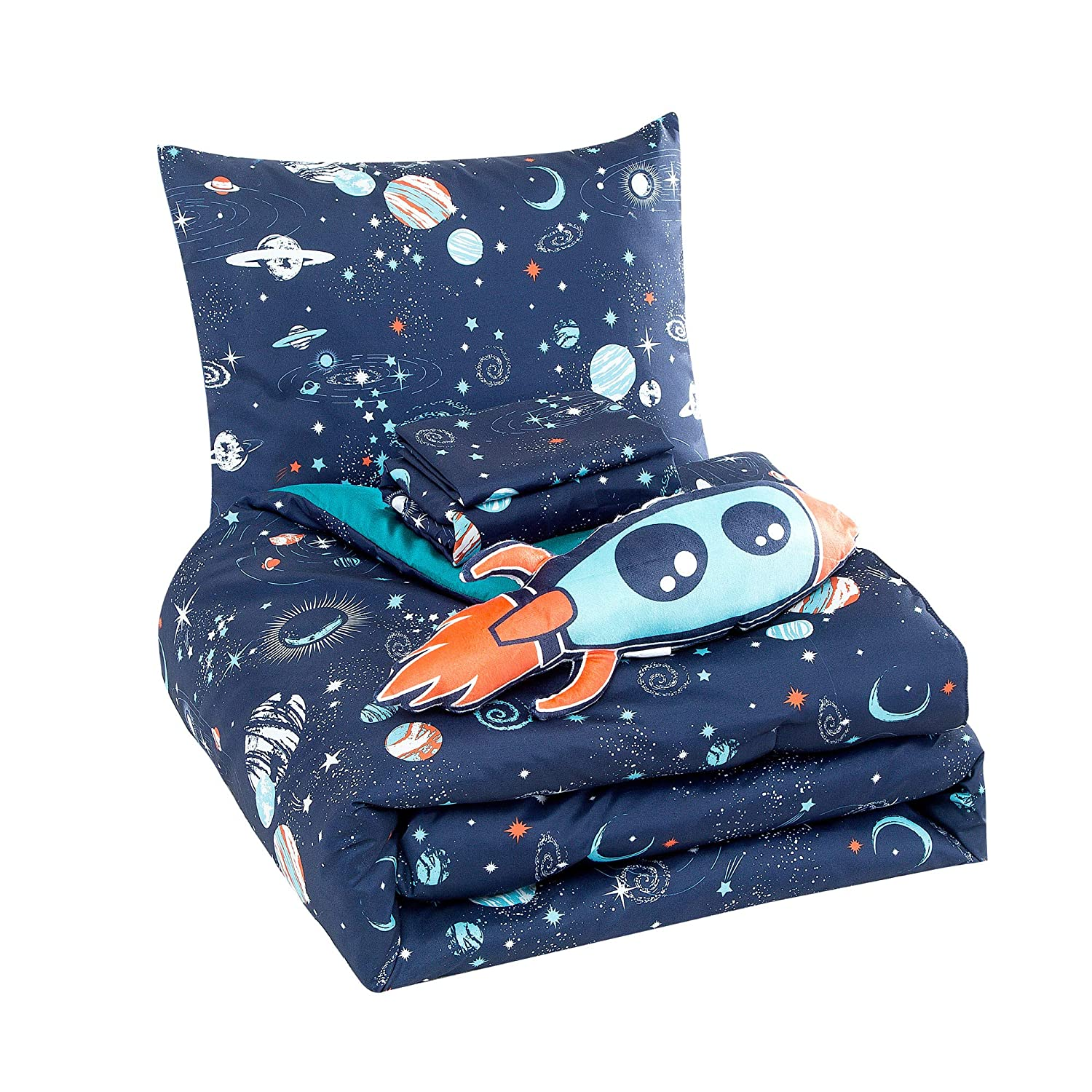 WPM Kids Collection Bedding 5 Piece Blue Space Ship Rocket Print Full Size Comforter Set with Sheet Pillow sham and Rocket Toy Fun Stars Planets Design (Pandora, Full Comforter)