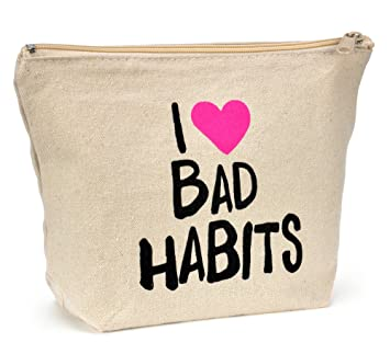 b97ddf427d87 Natural Canvas Makeup Bag - I (HEART) Bad Habits - Cosmetic Bag - Canvas