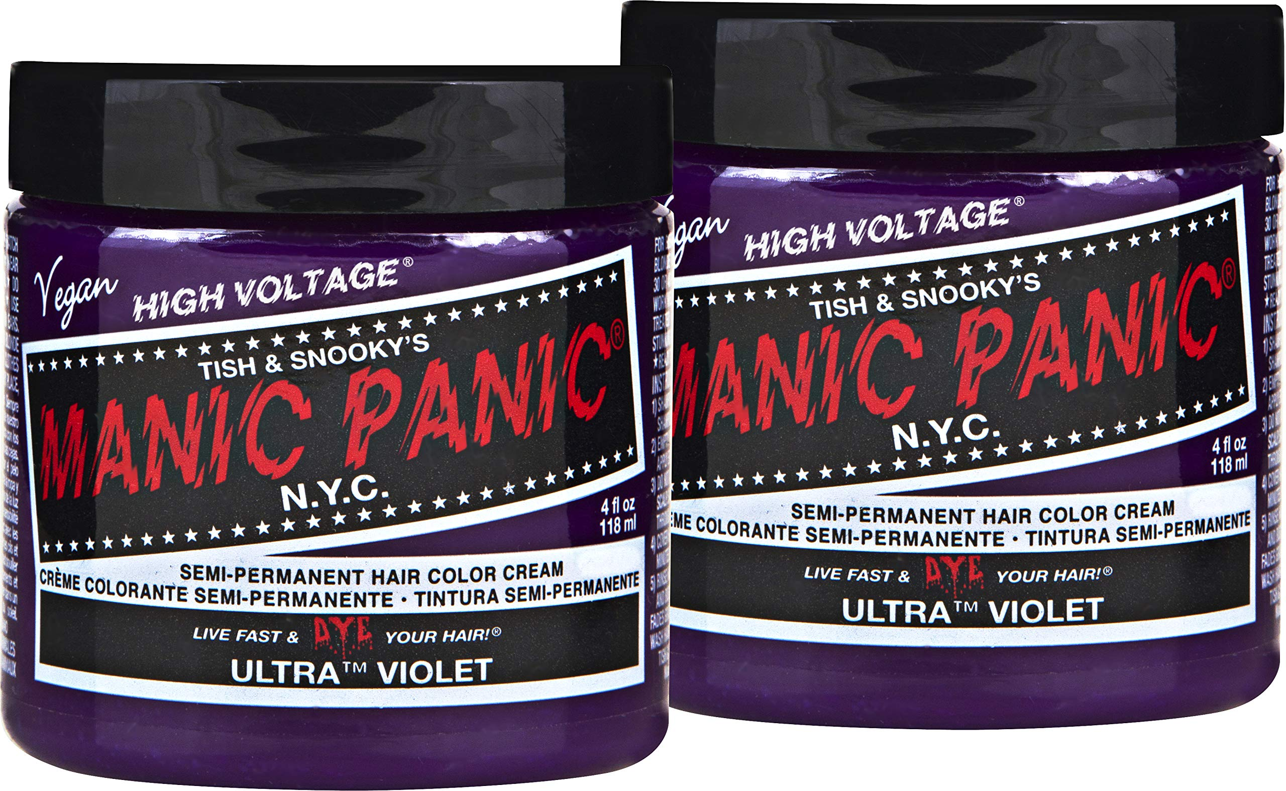 Manic Panic Ultra Violet Purple Color Cream (2-Pack) Classic High Voltage Semi-Permanent Hair Dye - Vivid, Purple Shade For Dark or Light Hair. Vegan, PPD & Ammonia-Free. Ready-to-Use, No-Mix Coloring by MANIC PANIC