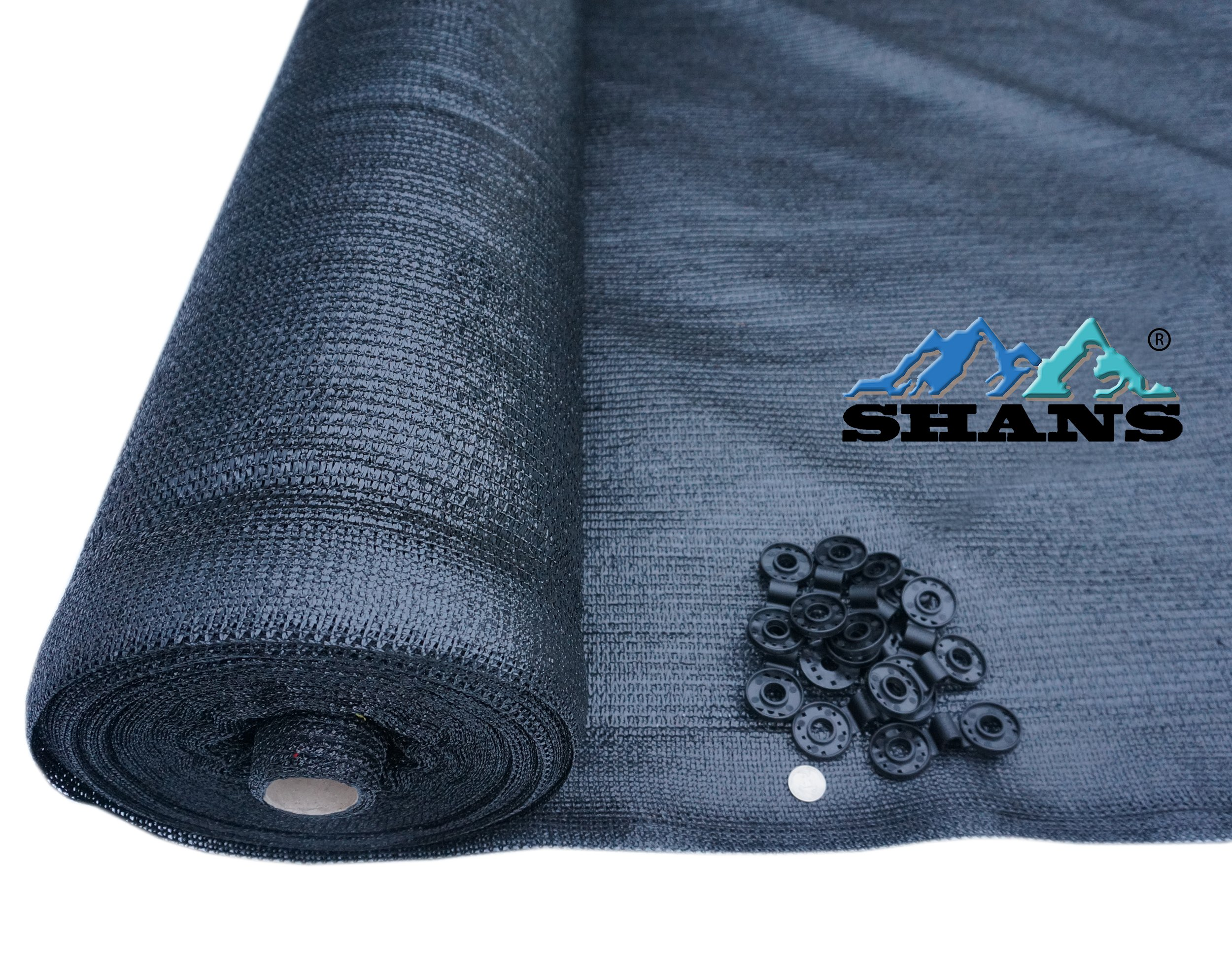 SHANS 60% UV Black Shade Cloth Sunscreen Fabric with Clips Free (10 ft x 25 ft)