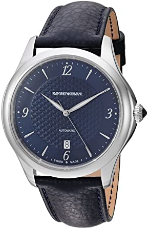 ae288105b Emporio Armani Swiss Made Men's Esedra Gent Auto Watch Stainless Steel Swiss -Automatic Leather Calfskin