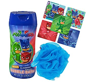 Pj Mask Bath Time Bubble Bath & Kids Scrubby Featuring Cat Boy, Gekko & Owlette
