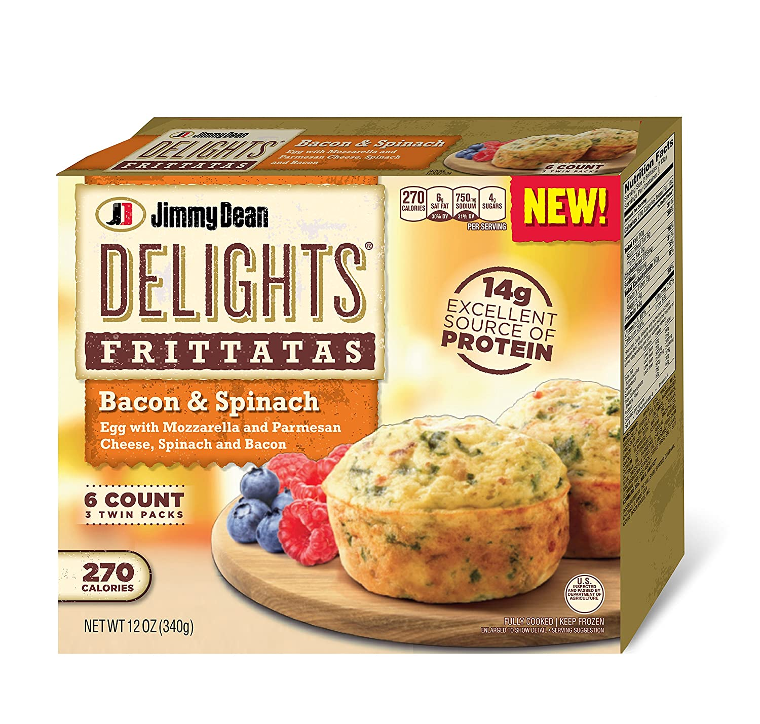 Jimmy Dean, Bacon Spinach Delight Frittata, 6 ct (frozen ...