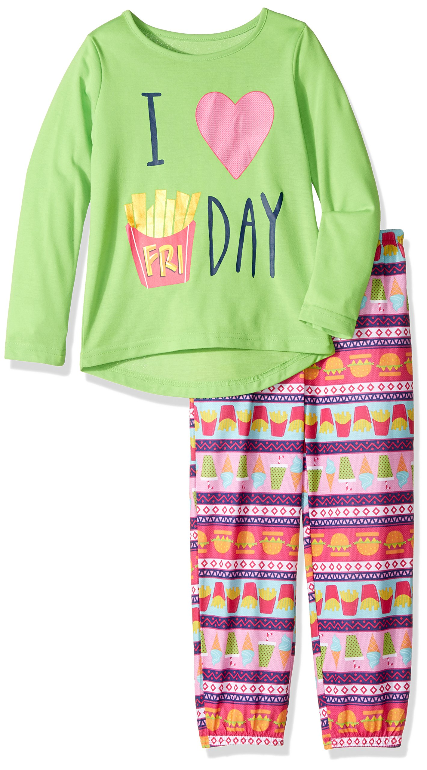 Komar Kids Big Girls' I Love Friday 2 Piece Jogger Sleep Set, Pink Ground Print, Medium