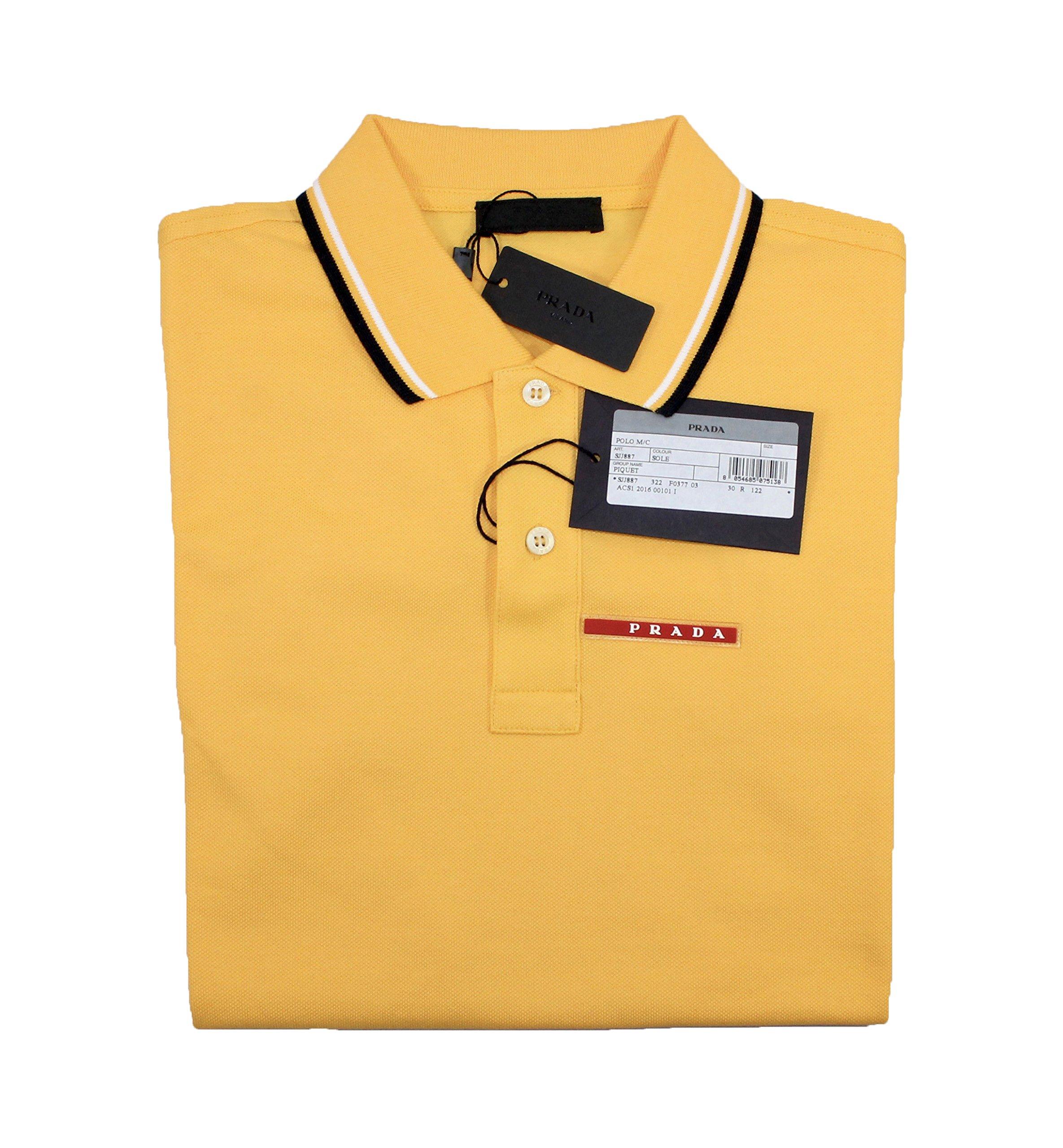 Prada Men's Cotton Piqué Short Sleeve Slim Fit Polo Shirt, Yellow (Sole) (Medium)