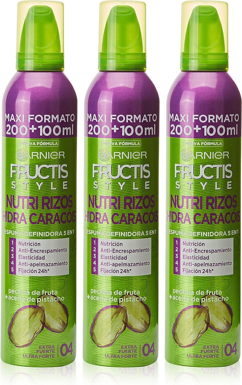 Garnier Fructis Style - Espuma Hidra-Rizos 5 Acciones Fructis Style 200ml, Extra Fuerte 04, Paquete de 3