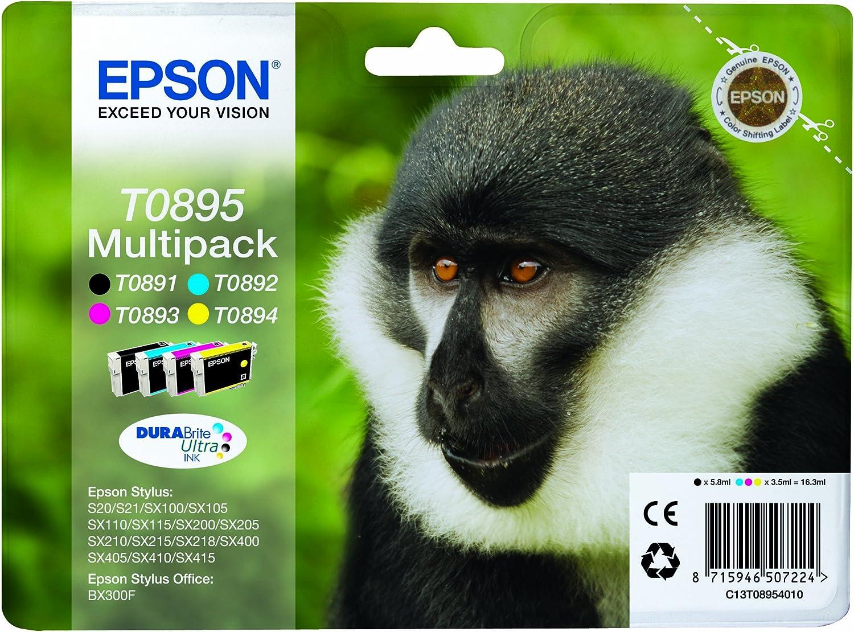 Epson Original T0895 Affe Wisch Und Wasserfeste Tinte Multipack 4 Farbig Cymk Bürobedarf Schreibwaren