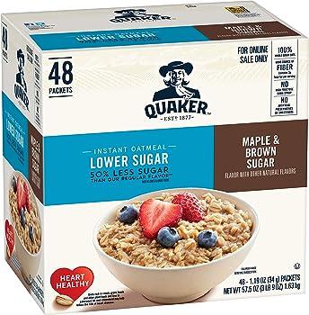 48-Count Quaker Instant Lower Sugar Oatmeal Maple & Brown Sugar