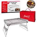 """Camping Grill - Portable Compact Scout Outdoor Grill by Budweiser (16.5"""" X 10.5"""") - Weighs Just 2.5 Lbs and Includes Budweiser Carrying Bag"""