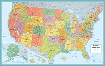 Large Picture Of The Us Map Amazon.: Rand McNally M Series Full Color Laminated United