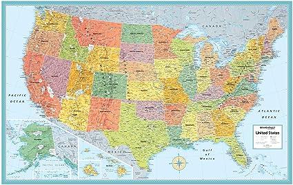 Amazoncom Rand McNally MSeries FullColor Laminated United - United states wall map laminated