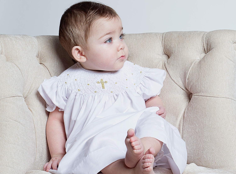 Gold Cross Baby Girl Hand Smocked Christening Baptism Dress w Bonnet
