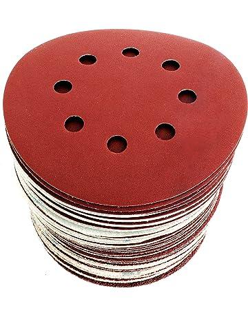 Discos de Lija Velcro 125 mm Papel abrasivo autoadhesivos. 60pzs: Grano cada 10 x